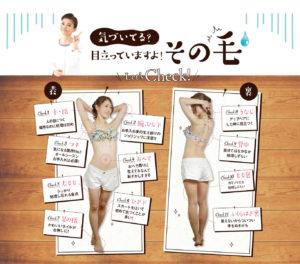除毛クリームのチュラリもを使用して良い体の箇所を、女性写真を使い分かりやすく説明している画像。