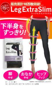 レッグエクストラスリム(着圧レギンス)のパッケージと、レッグエクストラスリムを実際に履いている、美脚女性の下半身写真。