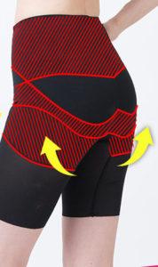 加圧スパッツのクリスチャンペルレには、お尻を美しく引き上げる効果があることを、矢印と赤い線を使って説明している写真。