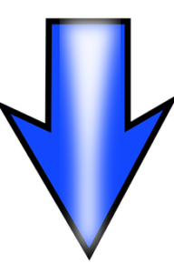 下向きの青い矢印