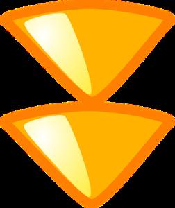 下に向かっている黄色い2つの矢印。
