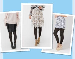 着圧レギンスのパーフェクトスマートレギンスを、普段着と合わせてオシャレに履いている、三人の女性の下半身の写真。