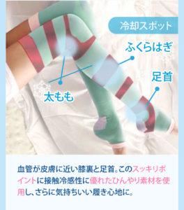 着圧ソックスのアイスマジックスリムを履いているモデルの足で、冷却スポットを表している写真