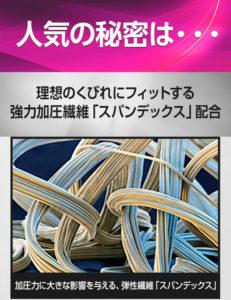 加圧インナーのカーヴィーフィットの繊維を拡大し説明している写真