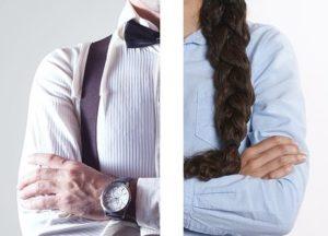 男性と女性の上半身が半分ずつ写っている写真