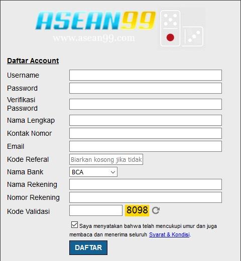 Contoh kolom daftar judi online di Asean99