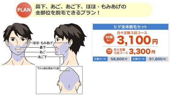 ヒゲ脱毛のクリニックであるメンズリゼのヒゲ脱毛の値段を示す画像2