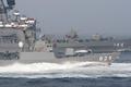 [艦船]2006年観艦式で内閣総理大臣座乗艦の前を通過するミサイル艇しらたか