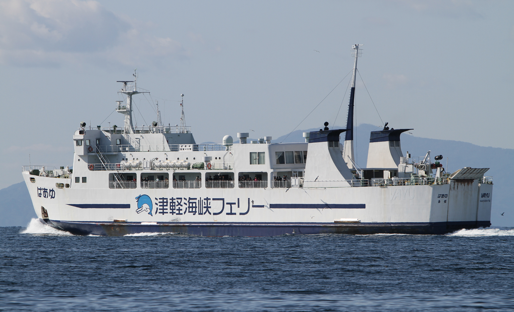 大間に向かう津軽海峡フェリーのばあゆ