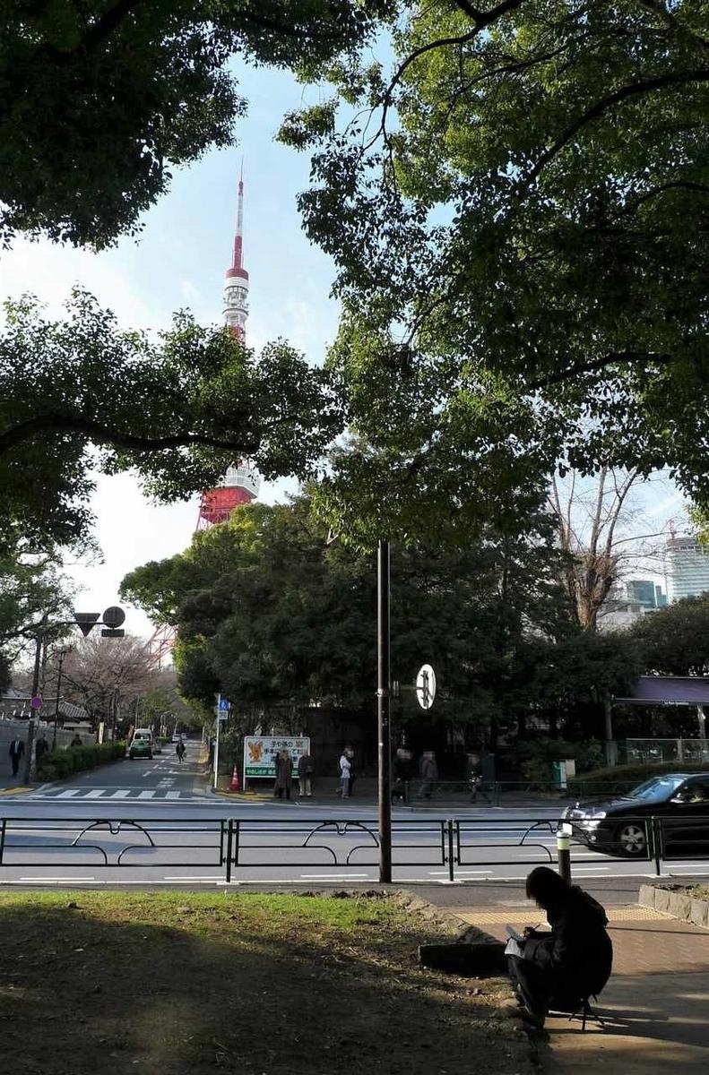 芝公園付近から見た東京タワー