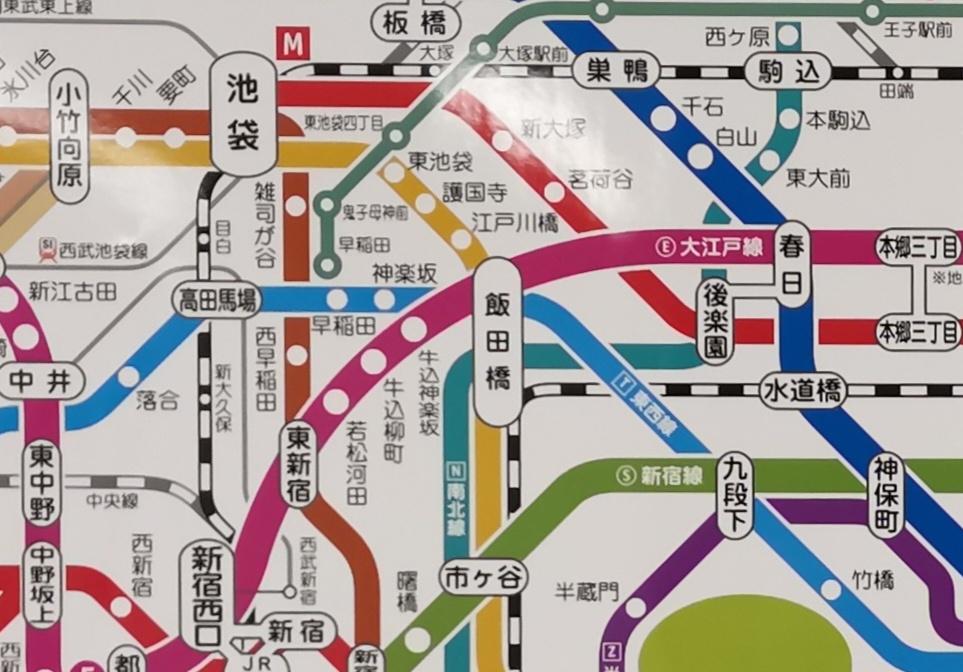 路線図で見る飯田橋駅の位置。