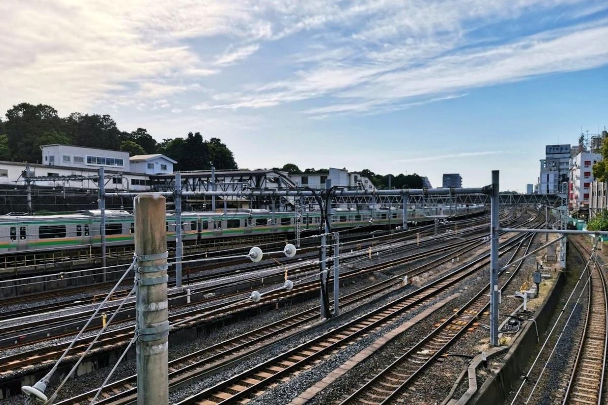 鶯谷駅の高架道路から撮影した写真。