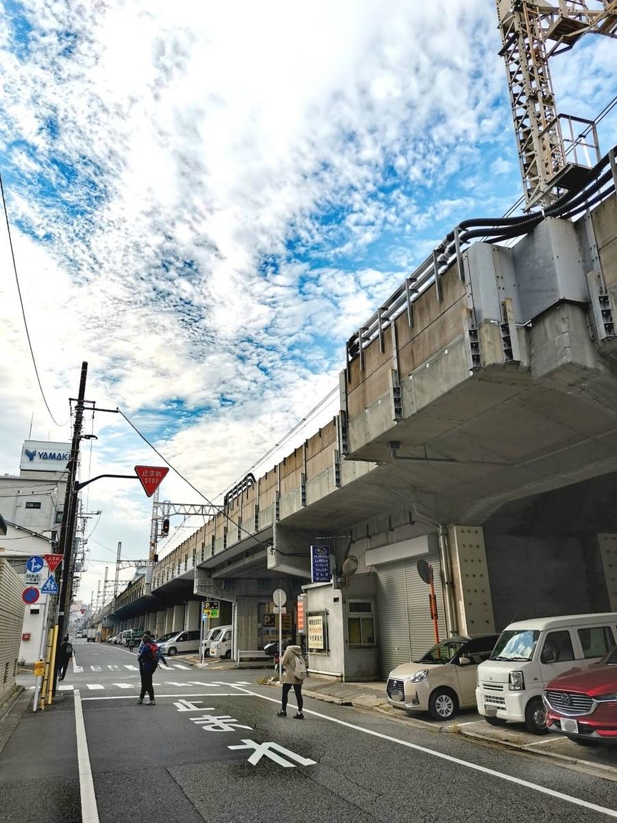 JR両国駅から東方向に延びる線路の高架下の風景