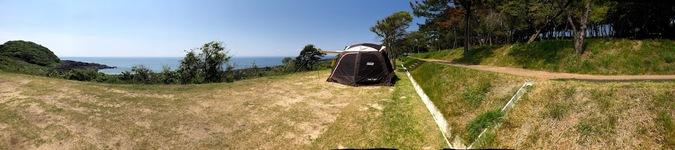 波戸岬キャンプ場 フリーサイト 海 コールマンウェザーマスター