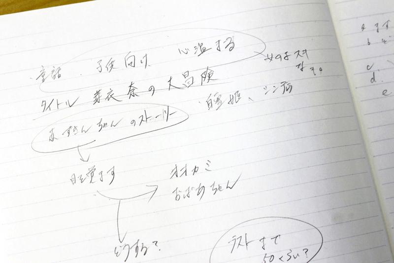 アイディアはノートにメモしてプロットを完成させます。