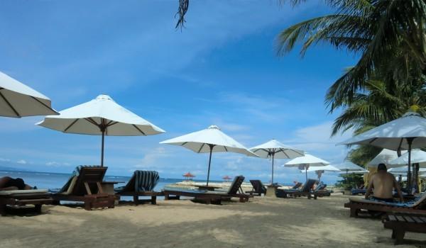 砂浜に白いパラソル、サンラウンジャーが並んでいる
