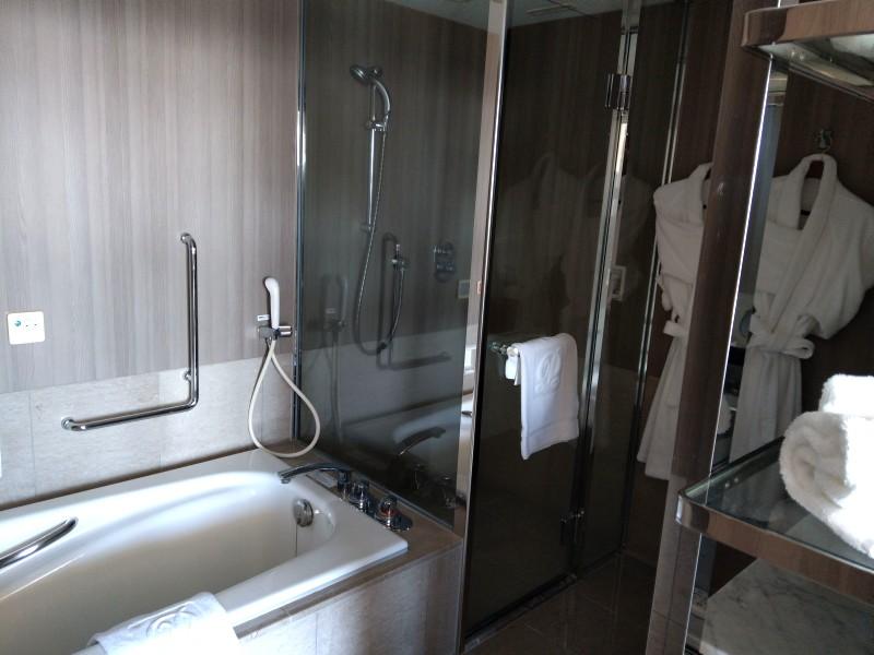 左手に浴槽、右手にシャワーブースがある