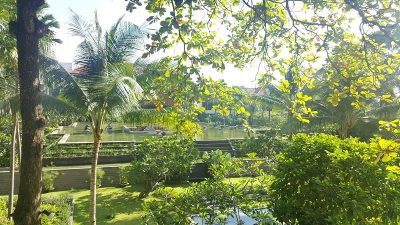 緑が豊富なホテルの庭の池:フェアモント サヌール ビーチ