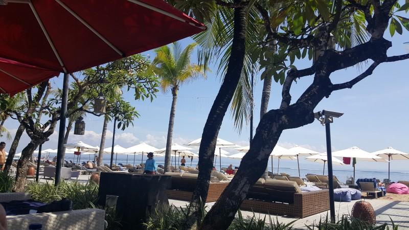 バリ島のホテルから海を臨む、白いパラソル、ヤシの木