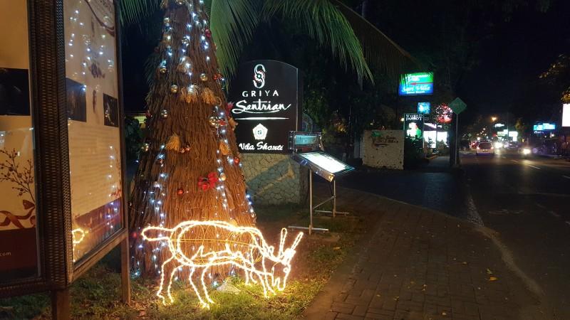 バリ島の夜の街 クリスマスイルミネーション