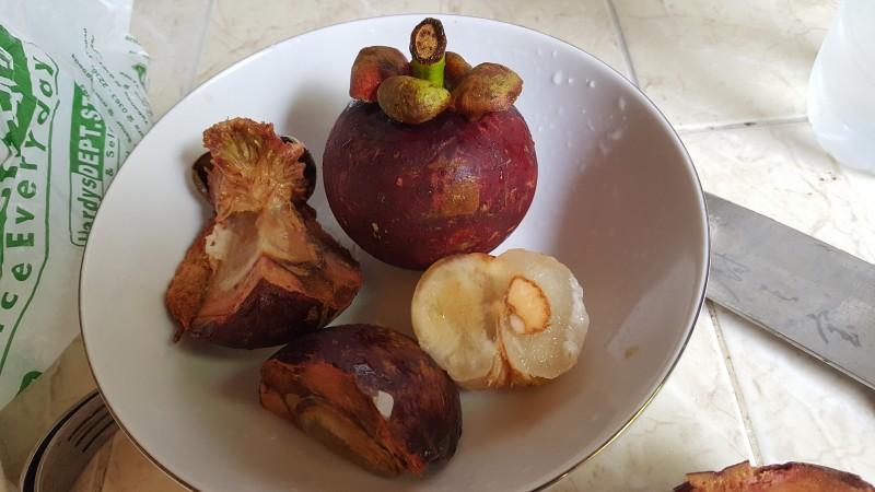 マンゴスチン 赤紫の球形の果実、割ると分厚い皮の中から白い果実が顔を出す