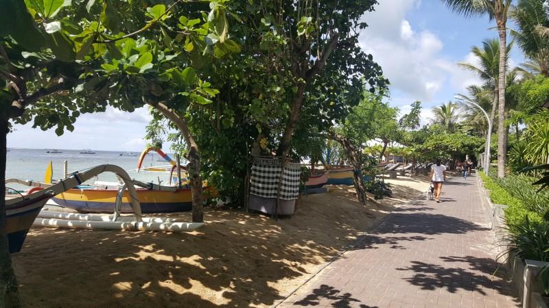 バリ島 サヌール 海岸線に沿った遊歩道 よく手入れされた植栽が美しい
