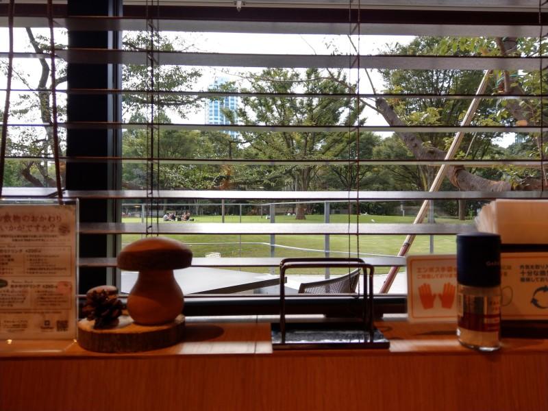 レストランの窓際のカウンター席から外を見る