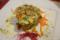鯛とアーモンド、ルッコラ、トマトを叩き白トリュフを掛けた一品