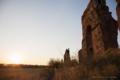水道橋遺跡と夕陽と電車