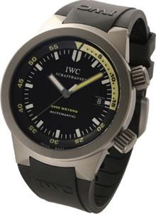 腕時計 IWC アクアタイマー IW353804 メンズウォッチ 200気圧防水 (ブラック文字盤xブラックラバーベルト)