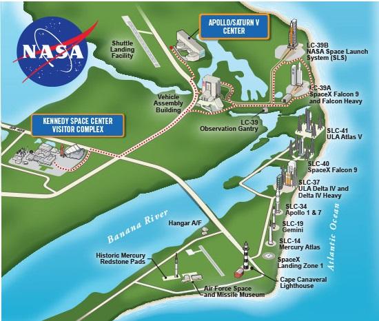 ケネディ宇宙センターバスツアーの経路