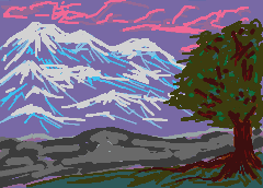 Afternoon in cold mountains