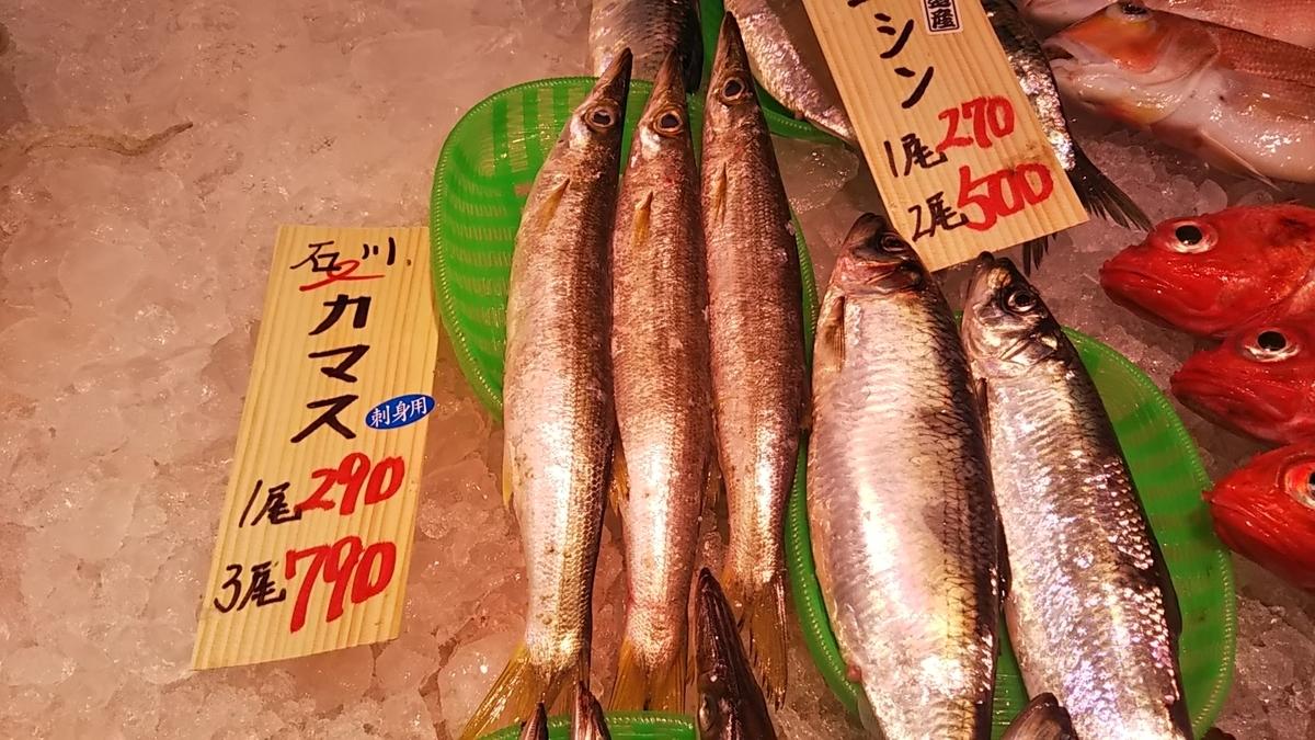 店で売っている魚の写真