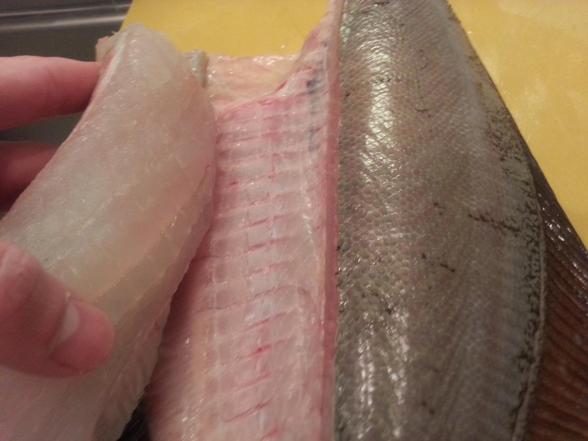 魚を捌く写真