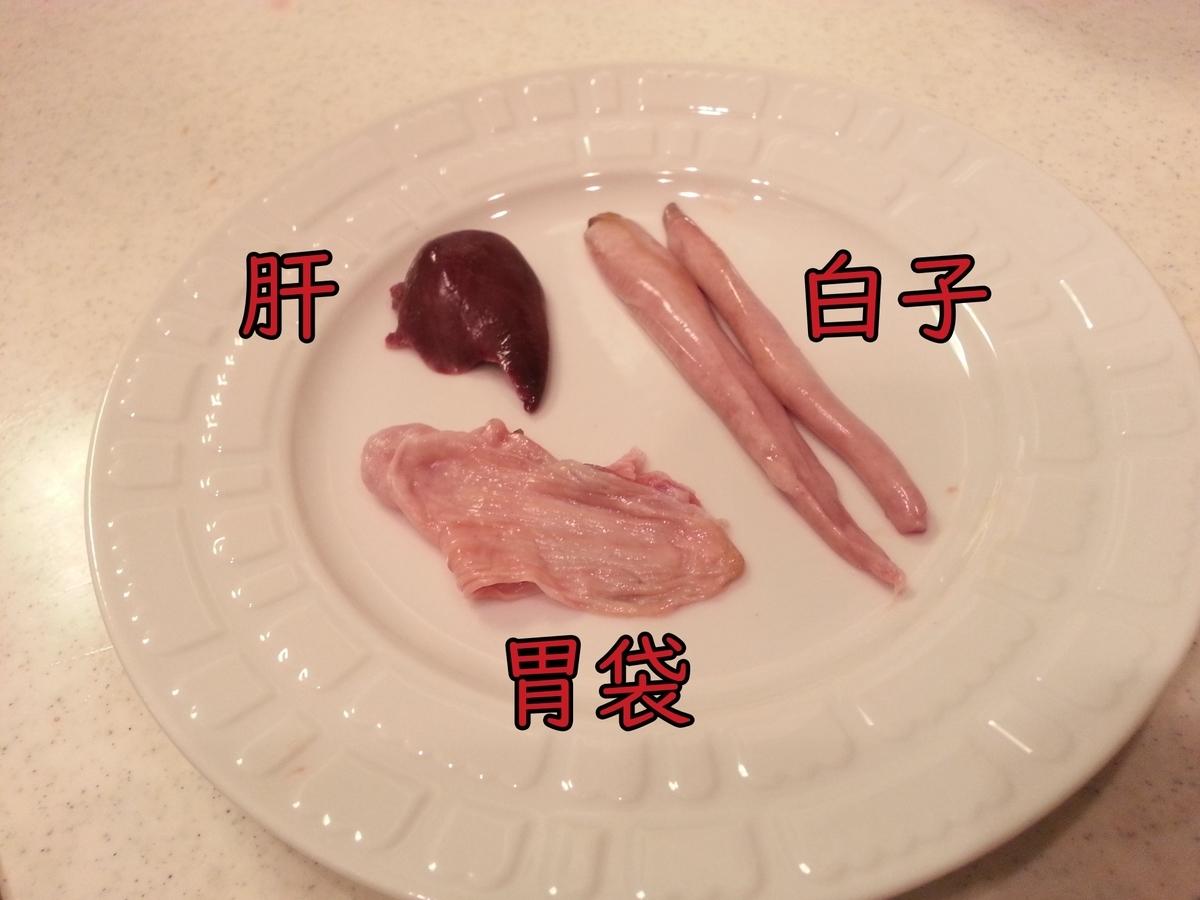 ハチビキ内臓(肝、白子、胃袋)