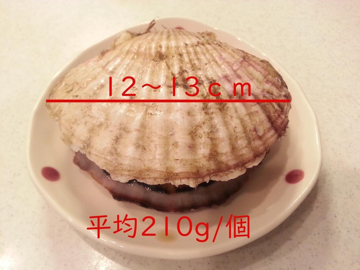 山内鮮魚店 活きホタテ 実測