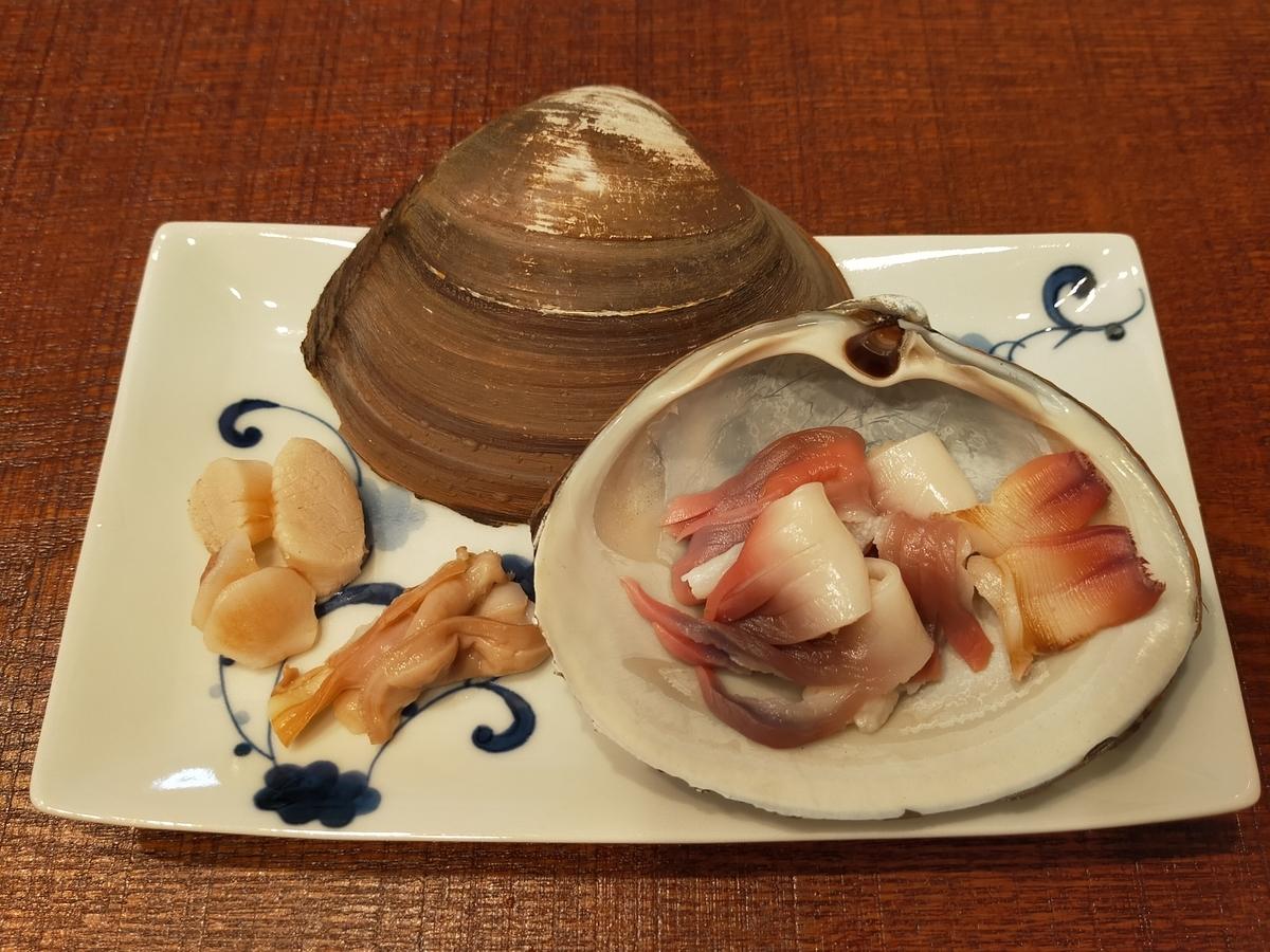 ホッキ貝の刺身の盛り付け方