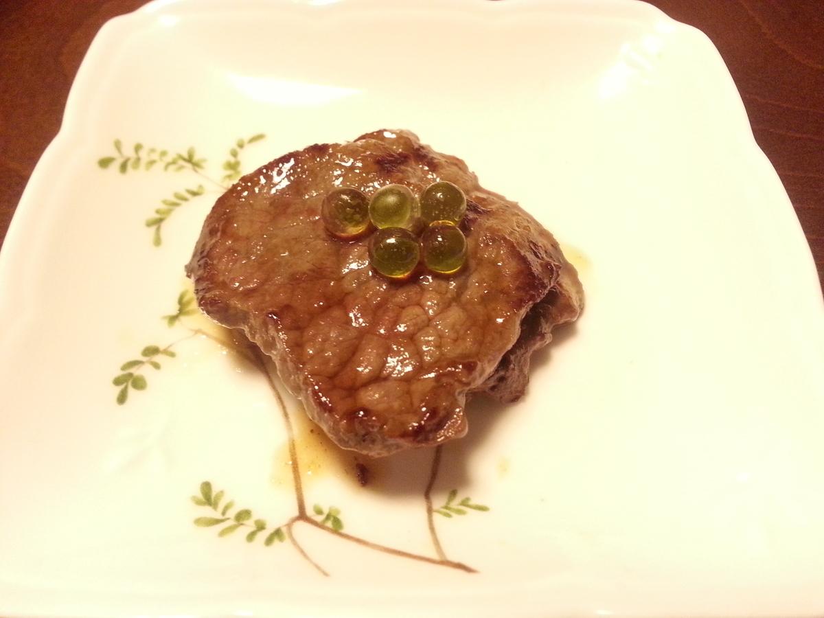 わさビーズとステーキ(焼肉)