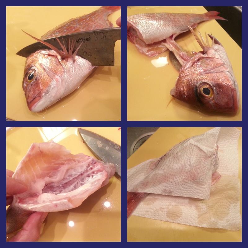 真鯛をウロコ付きで捌く