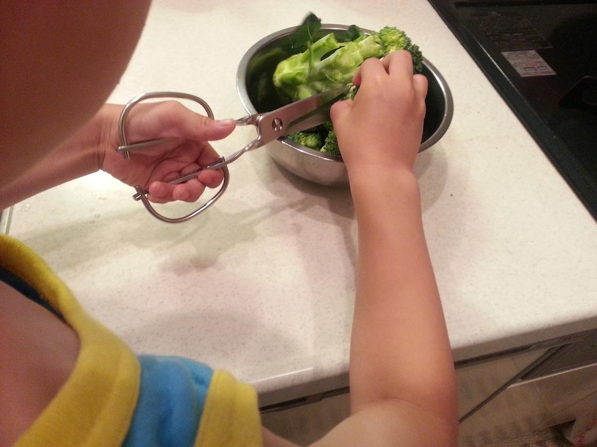 キッチンスパッターでブロッコリーを分ける