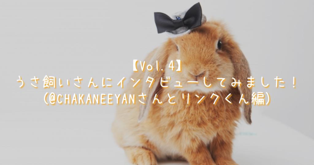 【Vol.4】うさ飼いさんにインタビューしてみました!(@CHAKANEEYANさんとリンクくん編)