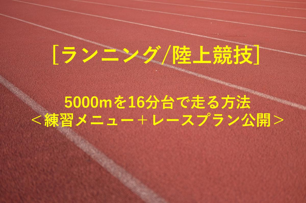題名「【ランニング/陸上競技】5000mを16分台で走る方法~練習メニュー+レースプラン公開~」