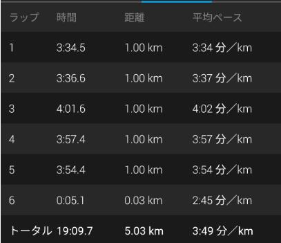 5000m走タイム