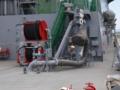 [海上自衛隊][しもきた]艦橋後部の給油用プローブレシーバ。