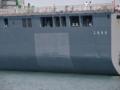 [海上自衛隊][しもきた]舷側には再塗装の跡が。