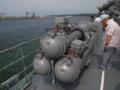 [海上自衛隊][ちょうかい][短魚雷発射管]護衛艦「ちょうかい」の三連装短魚雷発射管。