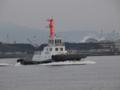 出港支援のため、タグボートが接近中。