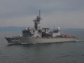 [海上自衛隊][てんりゅう]訓練支援艦「てんりゅう」。後部甲板には無人標的機を展示中。