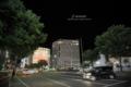 Uターンをする車-夜の岡山駅前/岡山市北区駅前町にて