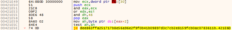 図 3. PEB から BeingDebugged の値を取得する処理